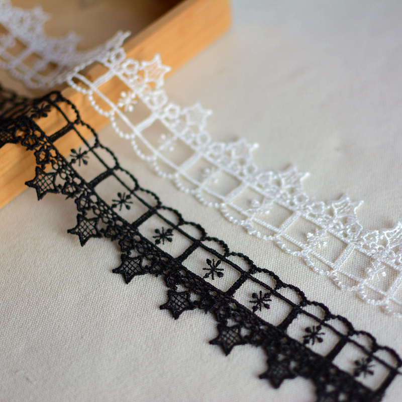 10Yards 6.5cm Mesh Fabric Lace Trim Inelastic Embroidered DIY Sewing Supplies