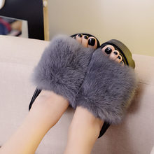 a197bcc5b New Summer Plush Women Fluffy Slippers Flat Non-slip Animal Fur Feather  Slides Home Flip Flop Rabbit Lady Casual Heighten Shoes