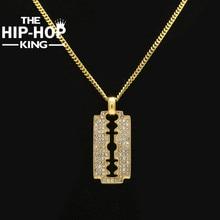 """EL REY Hoja De Afeitar Collar de HIP HOP Hip Hop Color Oro Mens Heló Hacia Fuera Rhinestone Colgante Collar Con El Envío 27.5 """"de la Cadena Cubana"""