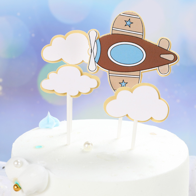 1 Set Fire Balloon Airplane Clouds Theme Kids Happy Birthday Cake Topper Cartoon Design Child Boy Cake Decoration Party Supplies in Cake Decorating Supplies from Home Garden