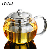 Glass teapot with stainless steel filter Chinese Kung Fu kettle heat resistant drinkware