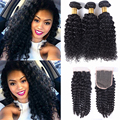 Brazilian Virgin Curly Hair With Closure 3 Bundle With Closure Kinky Curly Cheap Frontal With Bundles Modern Show Hair Products