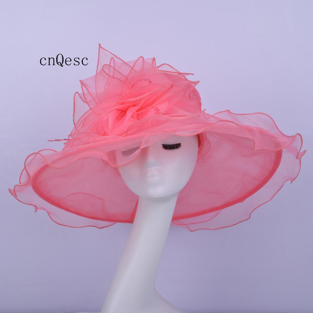 2019 Pink Wide brim Organza Hat for Kentucky derby church wedding races party w/feahers