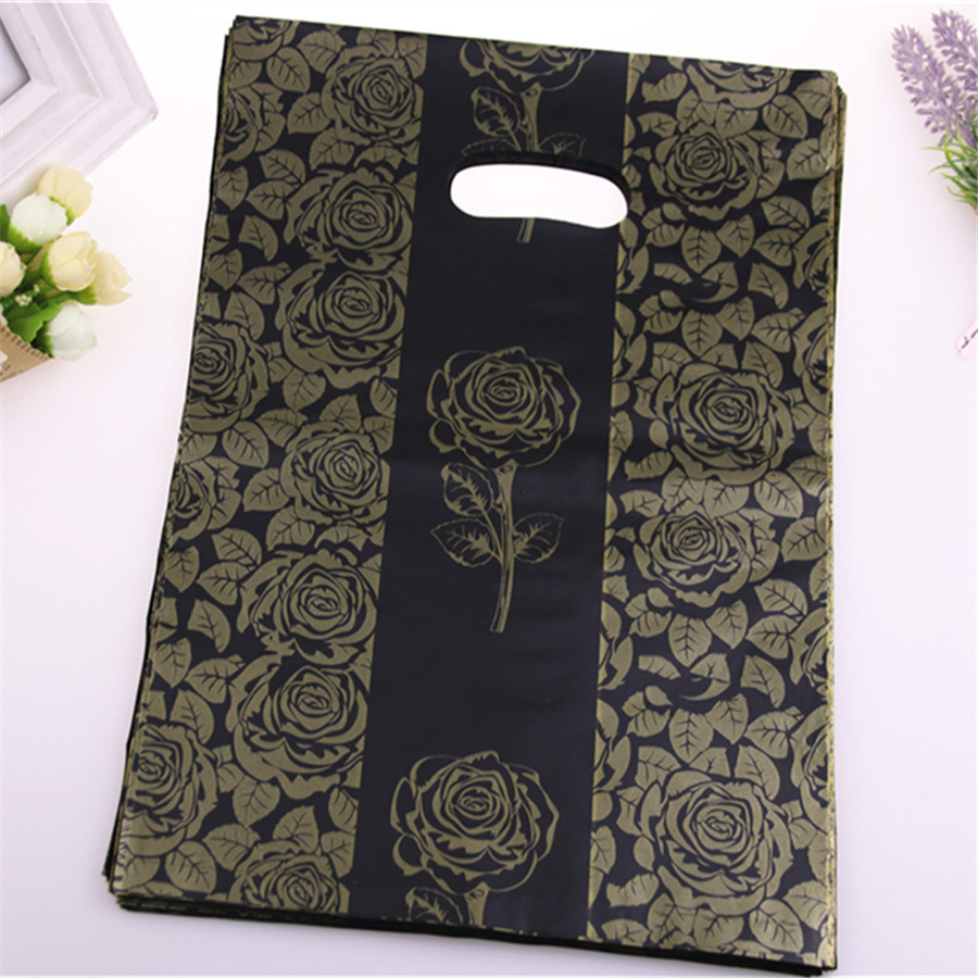 New Design Hot Sale Wholesale 100pcs/lot 25*35cm Black Luxury Fashion Gift Packaging Bags With Gold Rose Flower