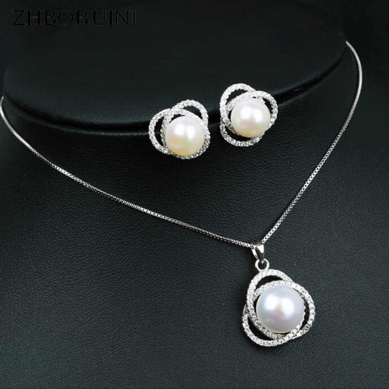 ZHBORUINI Fashion Necklace Pearl Jewelry set Freshwater Pearl 925 Sterling Silver Zircon Pearl Earrings Pendant For Women Gift