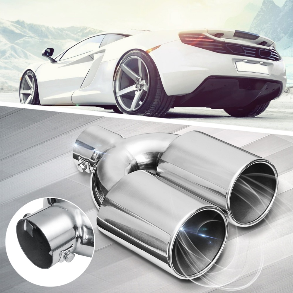 Universal Stainless Steel Car Exhaust Dual Tail Pipe Tips 60mm Inlet Chrome