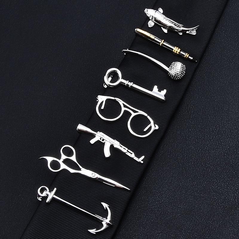 1 Piece Feather Glasses Anchor Mustache Key Shape Silver Metal Tie Clip for Men Tie Bar
