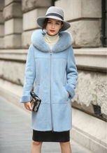 2017 New Womens Merino Sheep Leather Coat Double-faced Fur Light Blue Parka with Hoody Winter Long Real Leather Overcoat AU00926
