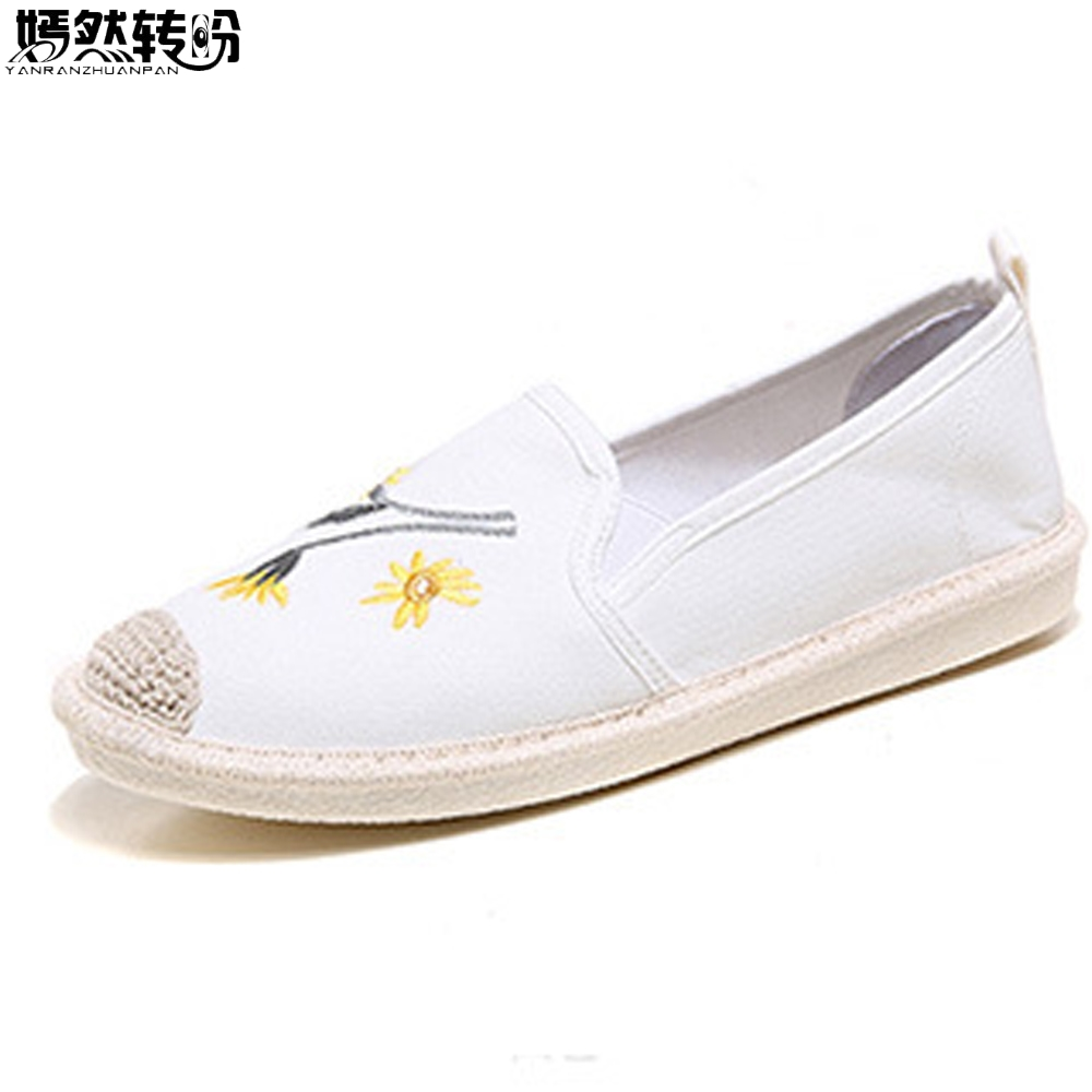 Women Flats Linen Shoes Fashion Floral Print Canvas Ladies Ballet Flat Casual Breathable Slip On Shoes Zapatos Mujer akexiya casual women loafers platform breathable slip on flats shoes woman floral lace ladies flat canvas shoes size plus 35 43