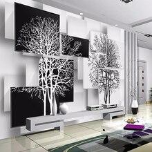Custom Photo Wallpaper Mural Papel De Parede 3D Modern Black White Big Tree 3D Living Room TV Backgr