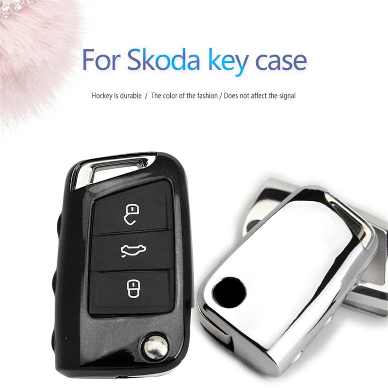 New Soft TPU Car Key Case Cover For Skoda Octavia A7 3 2 Rs Superb 2 Yeti Rapid Fabia Karoq Kodiaq Key Ring Shell Accessories