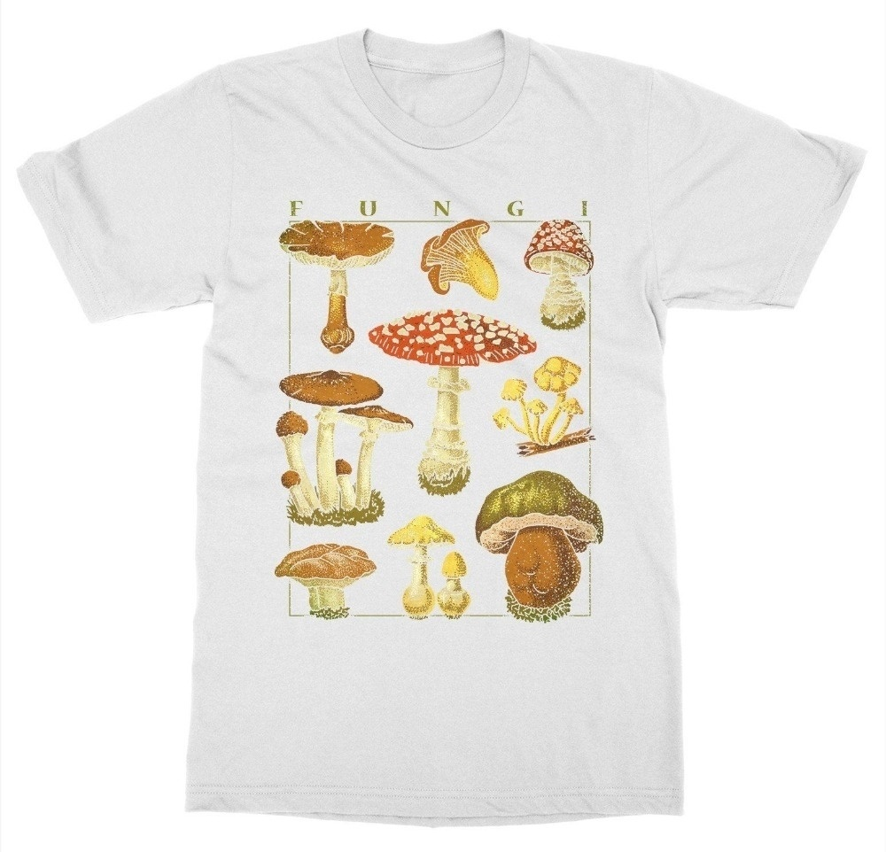 Fashionshow-JF Summer Style Women T Shirt Fashion Mushrooms T-Shirt Botanical Garden Plant Print Flower O-Neck Tops