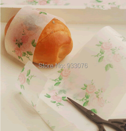 100pcs Food Grade Cozy & Sweet Rose Printed Greaseproof Paper/  25*35cm Hand Made Sope and Bread Oiled Paper Wrapper