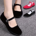 Women Work Shoes Soft Comfortable Hotel Work Flats with Buckle Strap Mother Driver Dance Shoes Wedding Shoes