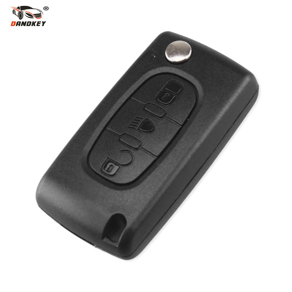 Dandkey 3 Buttons Flip Folding Remote Fob Key Shell Case For Peugeot Partner 306 407 107 207 307 308 406 408 Fob Replacement image