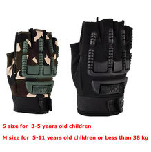 Camouflage Half Finger Tactical Gloves For Children Outdoor Shooting Hiking Hunting Climbing Cycling Riding girls boys glove