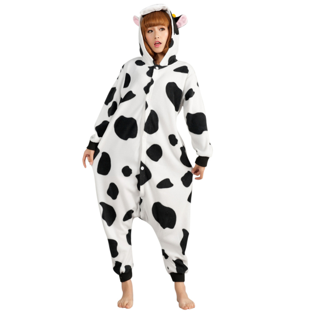 94ea49cd5d16 Animal Adult Flannel Costume Cow Onesie Pajama Halloween Carnival  Masquerade Party Jumpsuit Clothing