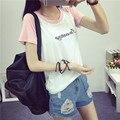 Coreano grande código de cor mosaico bordado flor emenda manga raglan T-shirt de manga curta cor do vestido estudantes
