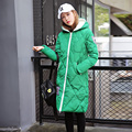 2016 Fashion Plaid down cotton jacket women Korean slim hooded down coat female autumn winter warm coats parka lady overcoat 230