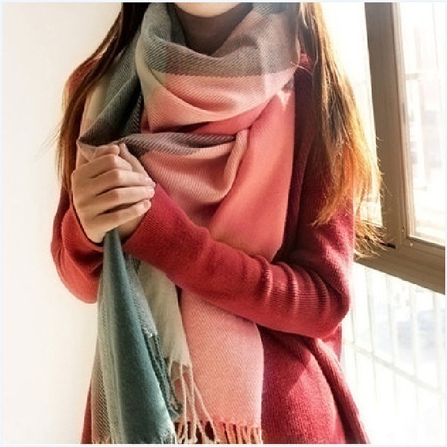 55a7f218fc2e Winter Scarf Women Men Luxury Brand Designer 2018 Tartan Cashmere Winter  Warm Square Plaid Wool Shawl In Women Scarves Cachecol