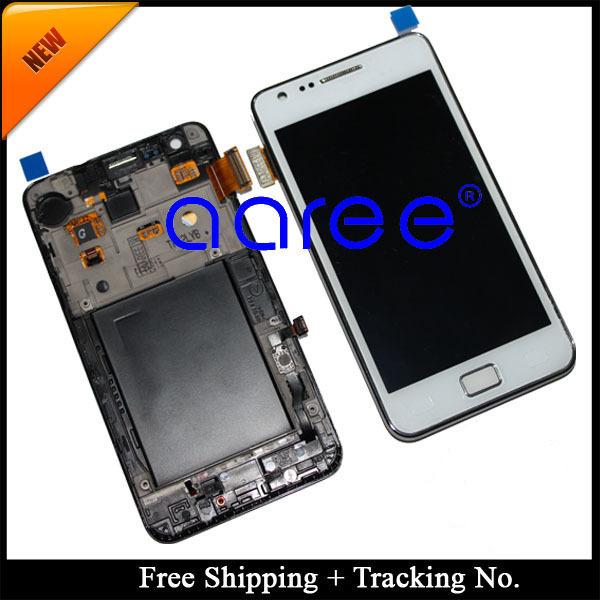 """Envío gratis + tracking no. 100% 4.3 """"probado para samsung galaxy s2 i9100 lcd digitalizador asamblea con marco blanco"""
