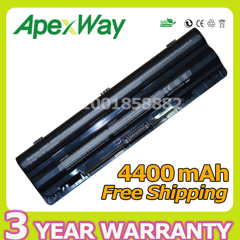 Apexway 11.1v 4400mAh Laptop Battery for DELL XPS 14 17 15 L401x L501x L502x L701x L702x Series JWPHF R795X WHXY3 312-1123 jigu laptop battery for dell xps 14 15 17 l502x l702x l501x l701x 312 1123 l401x 453 10186 j70w7 jwphf 312 1127 r795x whxy3
