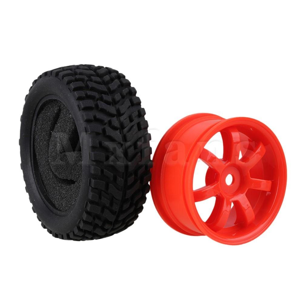 4 x RC1:10 On Road Car Red Plastic 7-Spoke Wheel Rim /& Beard Pattern Rubber Tyre