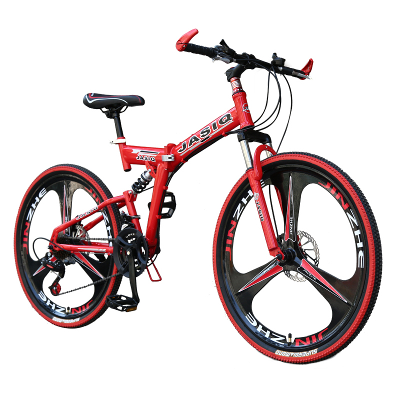 26 inch mountain bike 21 speed Folding mountain bicycle double disc brake bike New folding mountain bike Suitable for adults image