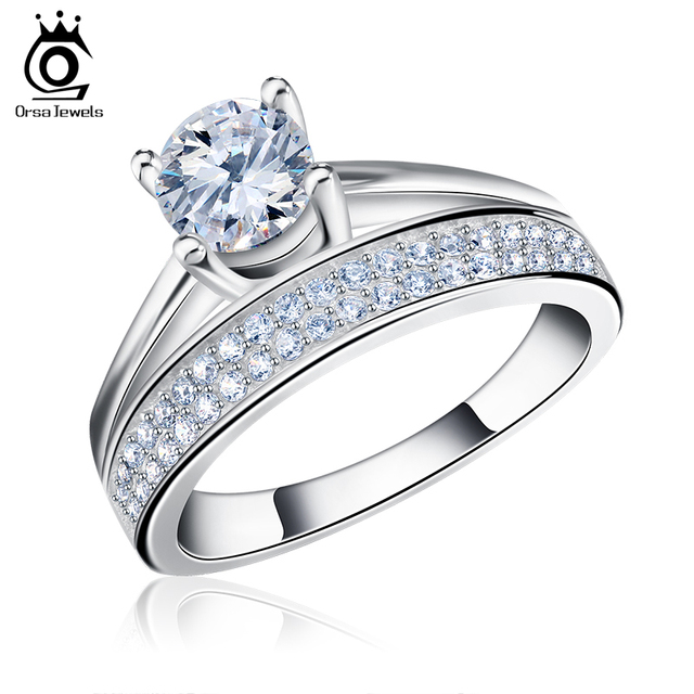ORSA JEWELS Round Ring Engagement Rings 4 Prongs Setting Cubic Zircon Jewelry For Women Love Bague Anillos Mujer OR107