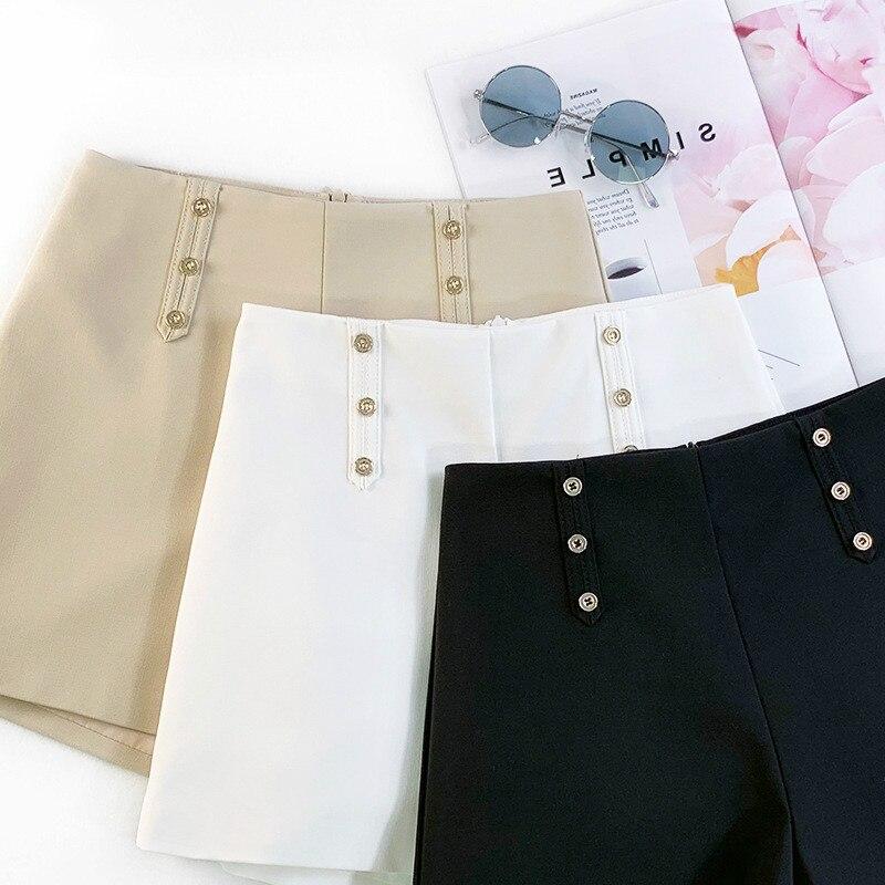 AcFirst Spring Black khaki White Polyester Women Shorts Zipper Fly High Waist Shorts Camel Bottom Formal High Waist Shorts