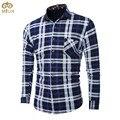 De gran tamaño de algodón a cuadros camisa de los hombres l ~ 5xl brand clothing grueso terciopelo camisa masculina sociales chemise rojo verde azul homme 2017