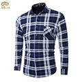 Large Size Plaid Cotton Men Shirt  L~5XL Brand Clothing Thick Velvet Camisa Social Masculina Green Red Blue Chemise Homme 2017