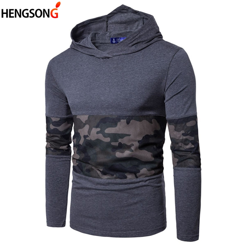 Men's Casual Hoodies Sweatshirt 2017 Autumn Men Clothing Long Sleeve Hooded Coat Man Tracksuit Fashion Patchwork Hoodie Pullover