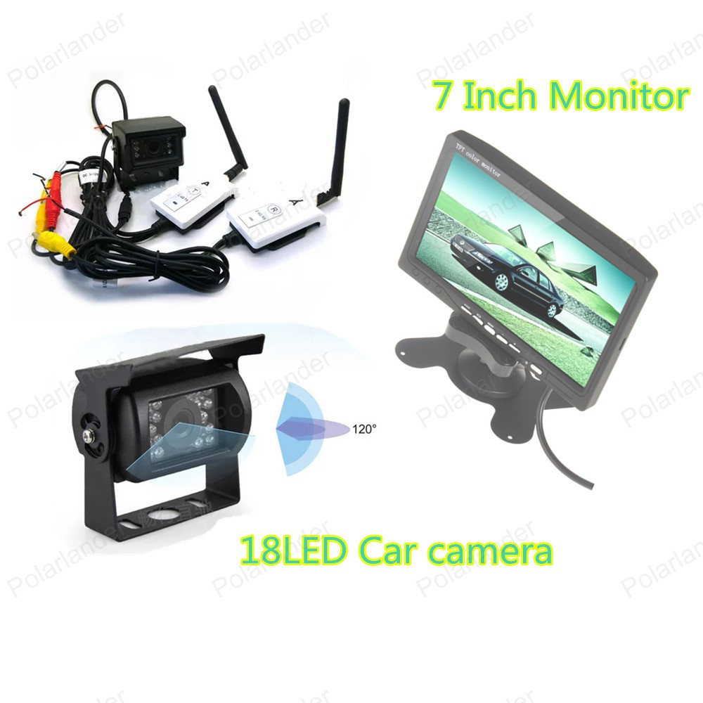 Car Rear View Monitor with 7 Inch TFT LCD Color Display Screen 18 LED rearviwe camera +wireless receiver transmitter kit 4 3 inch display tft color lcd monitor cctv camera monitor 2 av input 1 way for rear view