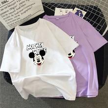 801c9f52b2 2019 lato nowego kobiet koszulka koreański moda na co dzień Mickey Mouse  kreskówki druku luźne kobiet T-shirt z nadrukiem para k.