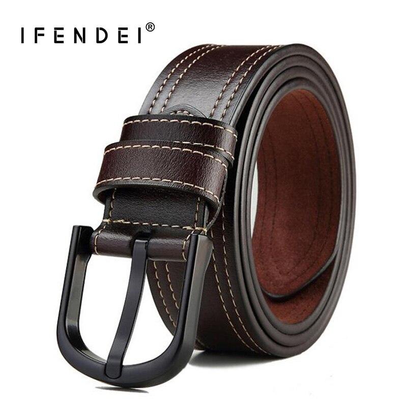 IFENDEI Brand Leather Belts 145cm For Men High Quality Needle Buckle Large Long Strap Split Leather Men's Belt For Trousers men s alligator head patterned elegant split leather belt w smooth buckle black