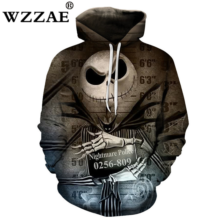 2018 Plus Size S-6XL Men Hoody Sweatshirts Melted Jack Skull 3D Print Hoodies Fashion Casual Pullovers Tops Spring Hot Hipster