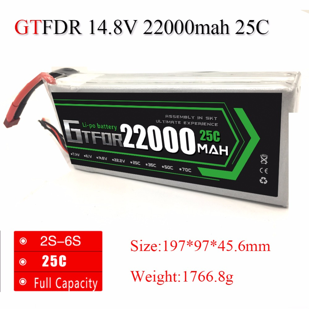 GTFDR Power Lipo Battery 14.8V 22000mAh Lipo 4s 25C Battery EC5 Plug Batteries for Quadcopter UAV Drones RC Helicopter Drone zdf lipo battery 22 2v 26000mah 6s 25c lipo battery as150 plug batteries for quadcopter uav rc helicopter drone