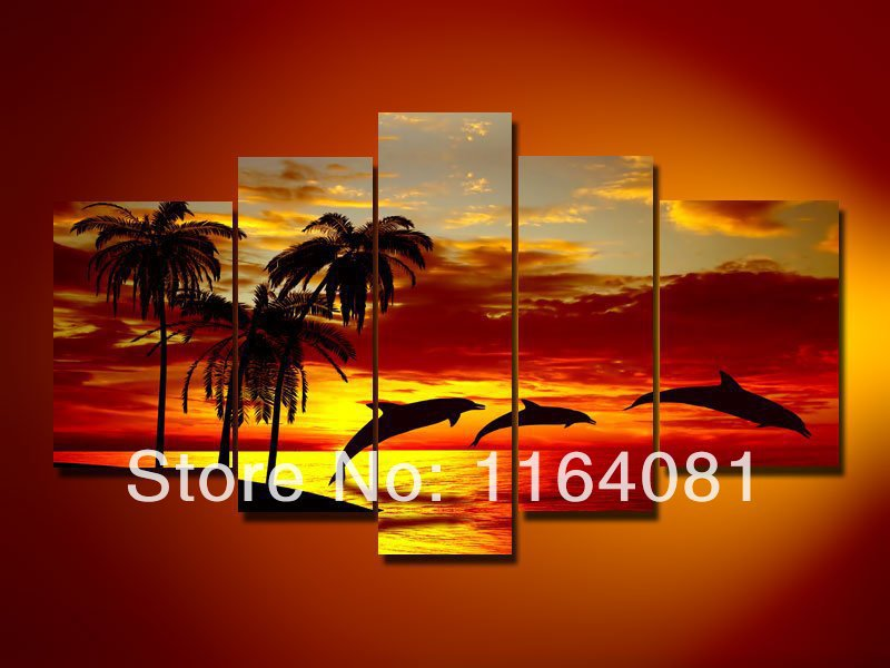 Hand-painted paint wall art Sunrise beach dolphins home decoration abstract Landscape oil painting on canvas 5pcs/set