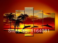 Hand painted paint wall art Sunrise beach dolphins home decoration abstract Landscape oil painting on canvas 5pcs/set