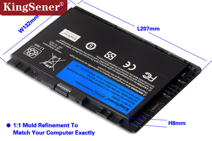 KingSener Nouveau BT04XL Batterie pour HP EliteBook Folio 9470 9470 m 9480 m HSTNN-IB3Z HSTNN-DB3Z HSTNN-I10C BA06 687517-1C1 687945- 001 - 3