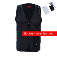 NEW Electronic Heating Vest Men Winter Warm Thick Vest Cotton Balck 3 Level Usb Battery Charging