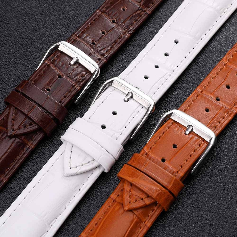 Watchband Leather Men Women Watch Band 26mm 24mm 22mm 18mm 16mm 14mm Wrist Watch Strap Watchbands Bracelet Silver Metal Buckle