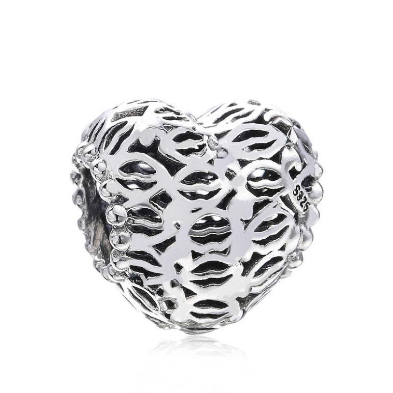 925 sterling silver DIY beads accessories 2018 new Openwork love hearts lips Fits Original Pandora Charm Bracelets & Necklaces