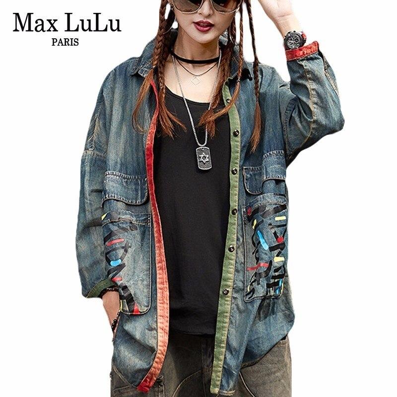 Max LuLu 2018 Spring Japan Designer Girls Vintage Clothing Womens Denim Shirts Long Sleeve Blouse Female