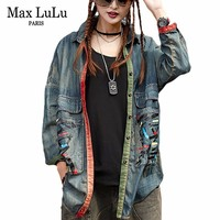 Max LuLu 2018 Spring Japan Designer Girls Vintage Clothing Womens Denim Shirts Long Sleeve Blouse Female