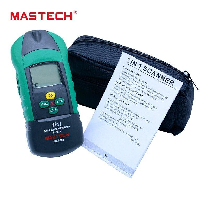 MASTECH MS6906 3 en 1 détecteur de métaux de goujon détecteur de Scanner de mur testeur de tension ca jauge d'épaisseur w/NCV