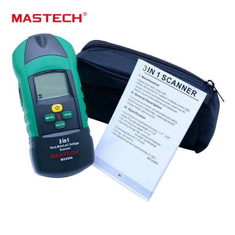 MASTECH MS6906 3 in 1 Stud Metal Detector Wall Scanner Detector AC Voltage Tester Thickness Gauge w/ NCV 3 in 1 multi function stud metal ac voltage scanner detector tester thickness gauge w ncv test mastech ms6906 wall scanner