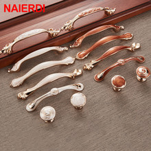 NAIERDI Red White Amber Series Cabinet Handles Zinc Alloy European Pulls Drawer Knobs Wardrobe Door Handle Hardware