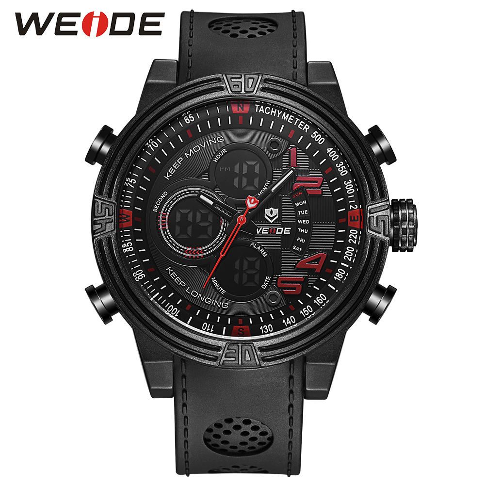 WEIDE Men Sports Watch Quartz Digital LCD Display Stopwatch Silicone Strap Buckle Date Black Dial Military Wristwatches For Man weide men sports watch quartz digital lcd display stopwatch silicone strap buckle date black dial military wristwatches for man